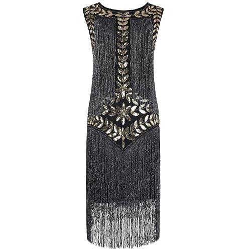 PrettyGuide Womens 1920s Dress Vintage Beaded Fringed Inspired Flapper Dress