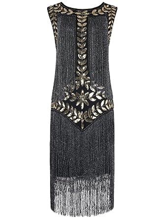 PrettyGuide Damen 1920er Vintage Paillette Alle Fransen Inspired Flapper  Kleider  Amazon.de  Bekleidung 53f84fafb5