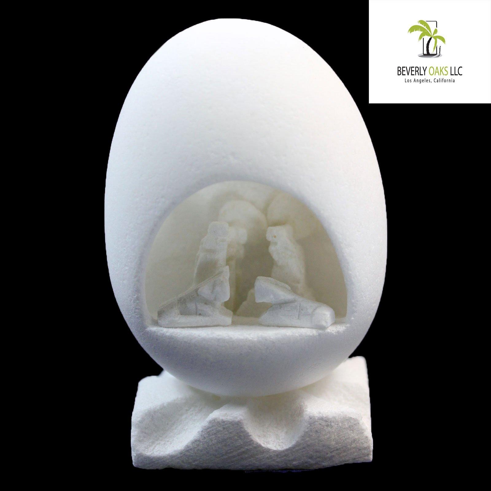 Hand Crafted Alabaster Nativity Scene Egg