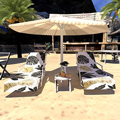 Qchengsan Beach Chair Cover, Chaise Lounge Towel Cover,Beach Towel with Storage Pockets,Great Accessories for Pool, Sun Lounger, Hotel, Vacation, Holidays Sunbathing (Palm): Kitchen & Dining
