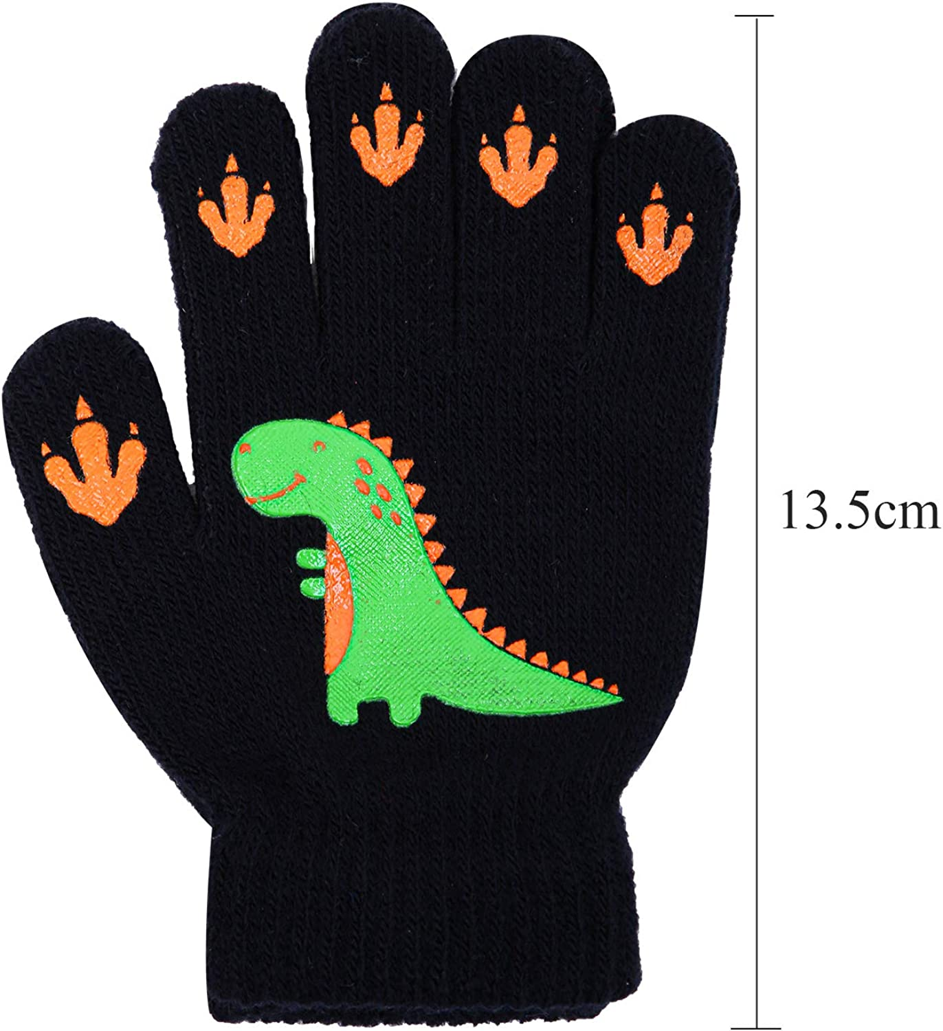 Cooraby 6 Pairs Kids Warm Magic Gloves Winter Stretchy Knit Gloves for Boys Girls