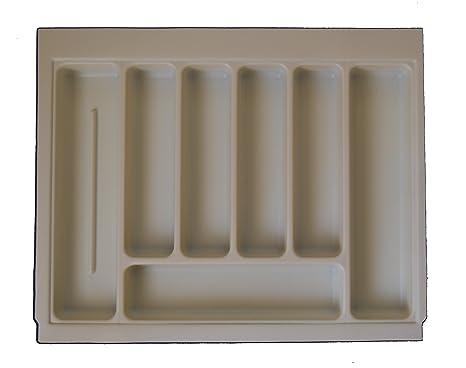 Alta calidad bandeja de cajón para cubiertos crema/marfil para adaptarse a la mayoría de 60 cm/600 mm cajones. Con textura de plástico 530 mm de ancho x 430 ...