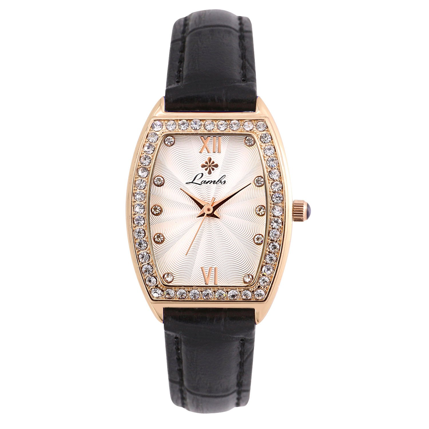Ladies Fashion Watch, Womens Rose Gold Rectangular Diamond CaseWaterproof Quartz Elegant Casual Wrist Watches for Girls with Comfortable Genuine Leather Band (Black)