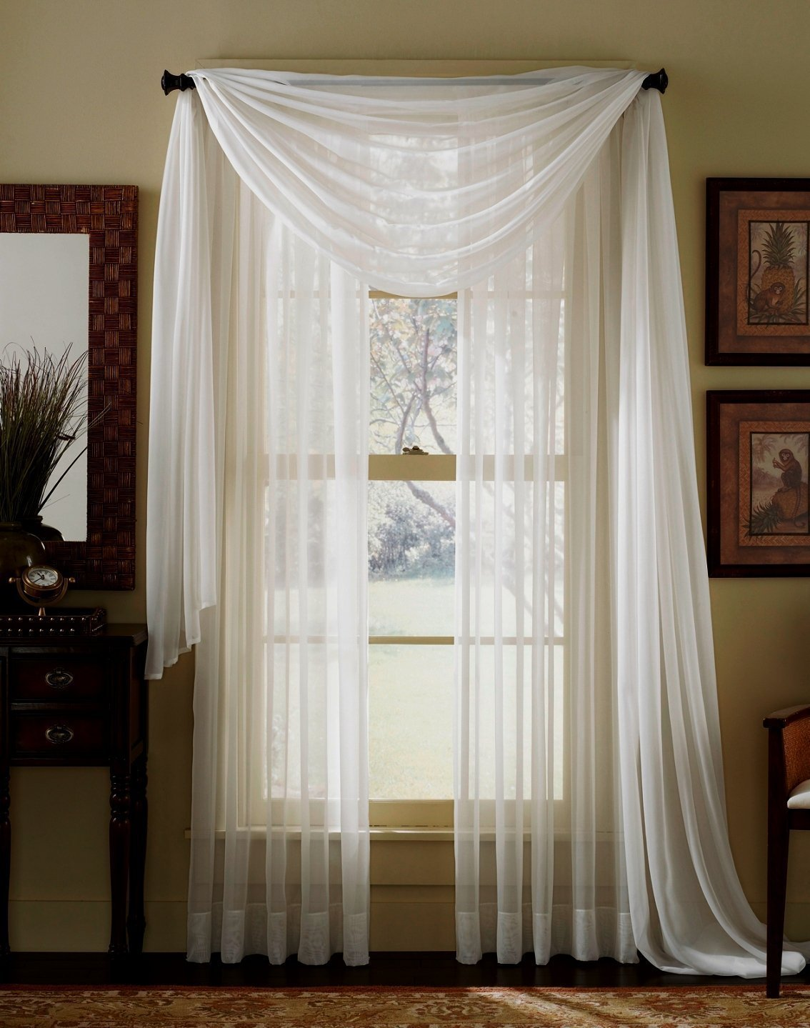 Amazon.com: 3 Piece Beige Sheer Voile Curtain Panel Set: 2 Beige Panels And  1 Scarf: Home U0026 Kitchen