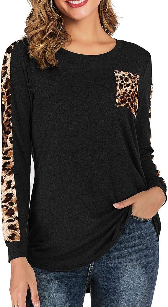 Koitmy Women's Crewneck Leopard Patchwork Pocket Long Sleeve Blouse Tunics Tops Black