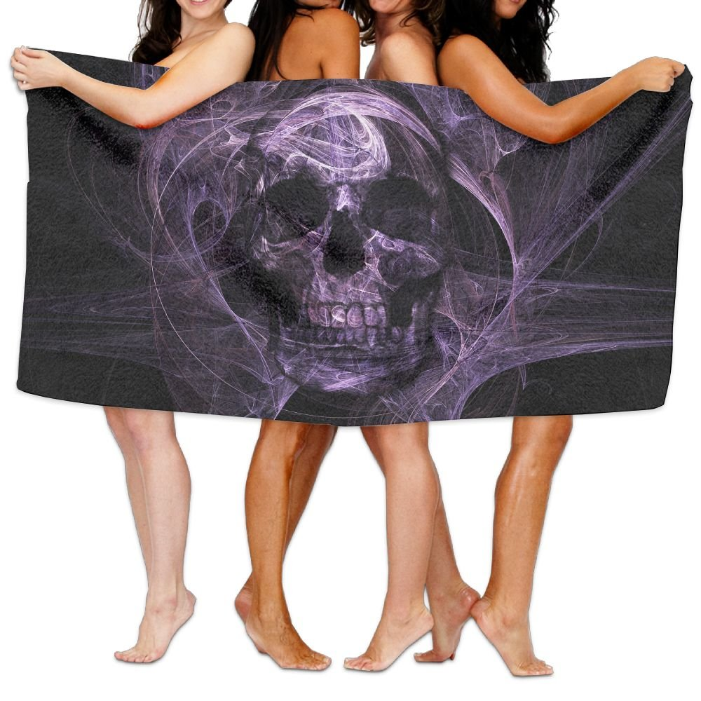 Purple Skull Head Luxury Bath Towel Hotel & Spa Extra-Absorbent Towel 31.5 X 51.2'' For Beach & Bath