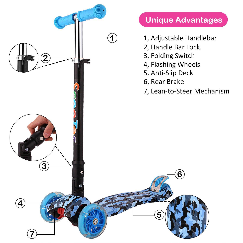 weskate R5 Niños Scooter - Patinete, ajustable y plegable ...