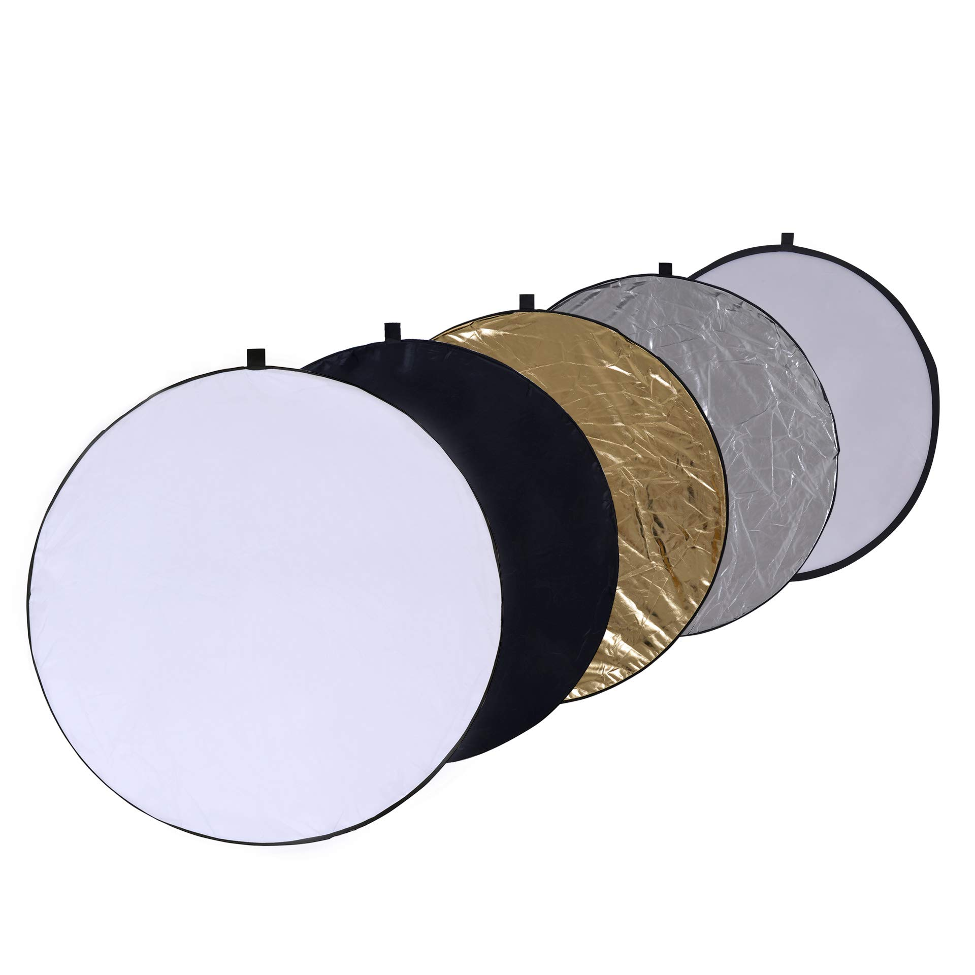 Round 32-inch / 80cm 5-in-1 Portable Collapsible Multi Disc Light Reflector Photography with Bag for Studio or Any Photography Situation-Silver, Gold, White, Translucent and Black