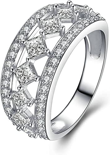 Adisaer Free Engraving Silver Plated Womens Promise Rings Diamond for Her Square Cubic Zirconia 5-12