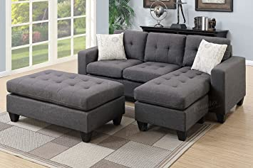 Poundex One Sectional With Ottoman And 2 Pillows In Gray Blue Grey