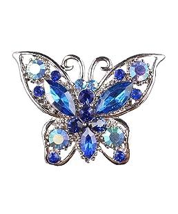 Broche Epingle de Nourrice Papillon en Strass Bijoux Fantaisie - Bleu Clair