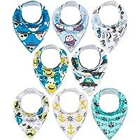 8 Pack ALVABABY Baby Drool Bandana Bibs For Drooling Teething Feeding Reusable Adjustable Snap Super Absorbent 100…