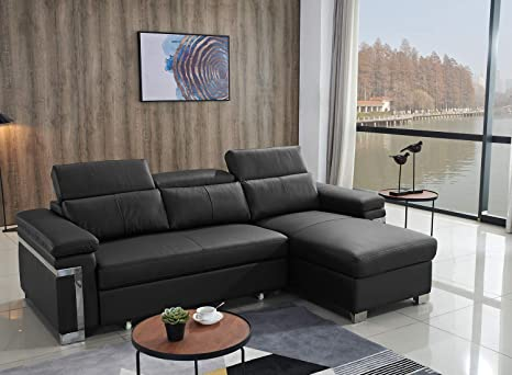 Amazon.com: FUNRELAX Black Corner Sectional Sofas Set Leather Pull-Out Futon Couch Sofa Sleeper Bed With Storage Chaise L Shaped Living Room Furniture Set For Small Space(2 Seater+ Chaise Longue),Modern Furniture: Kitchen &