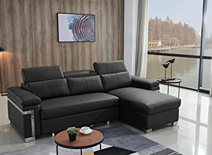 Amazon.com: FUNRELAX Black Corner Sectional Sofas Set ...