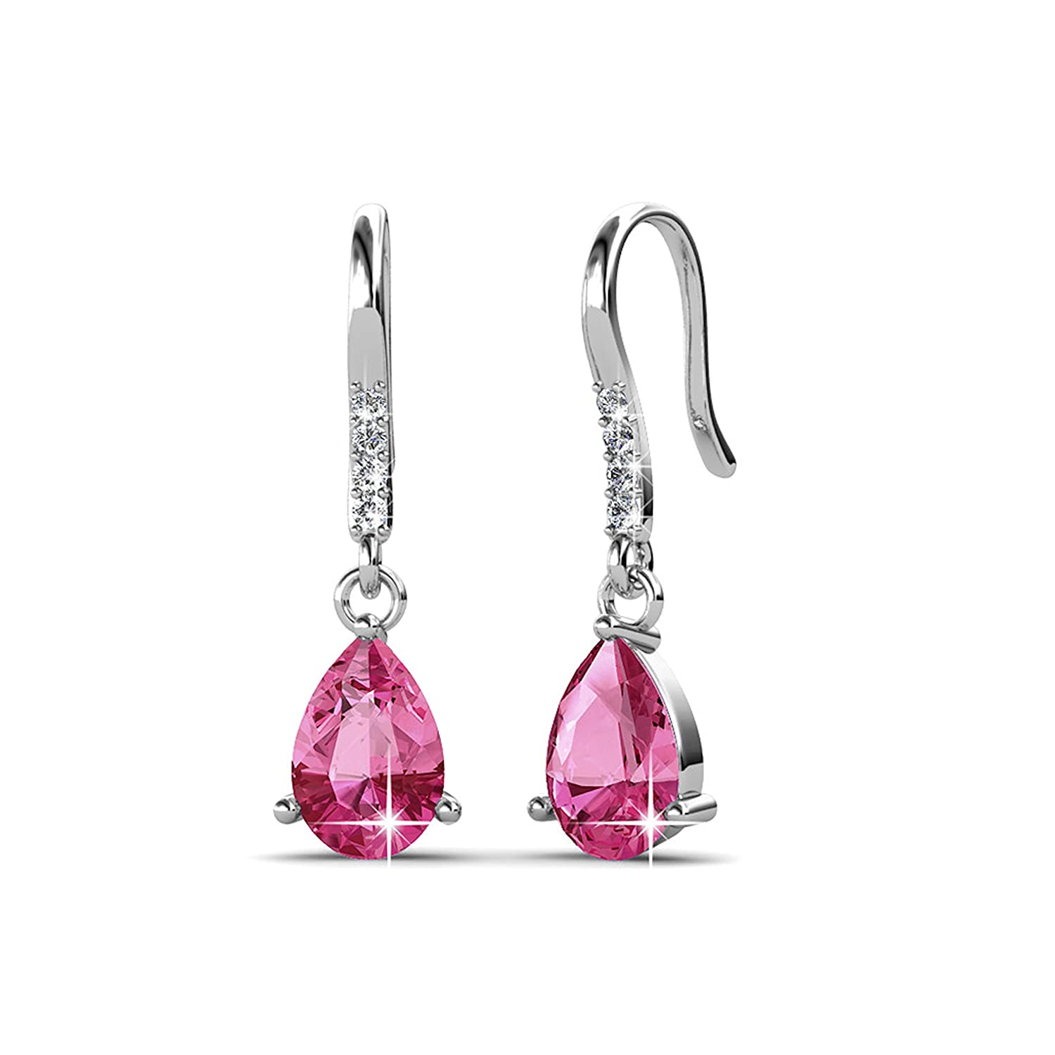 e9d57b50d Private Twinkle 18ct White Gold Plated Hook Earrings made with Crystal  (6mm, 3 Claw) (Pink): Amazon.co.uk: Jewellery