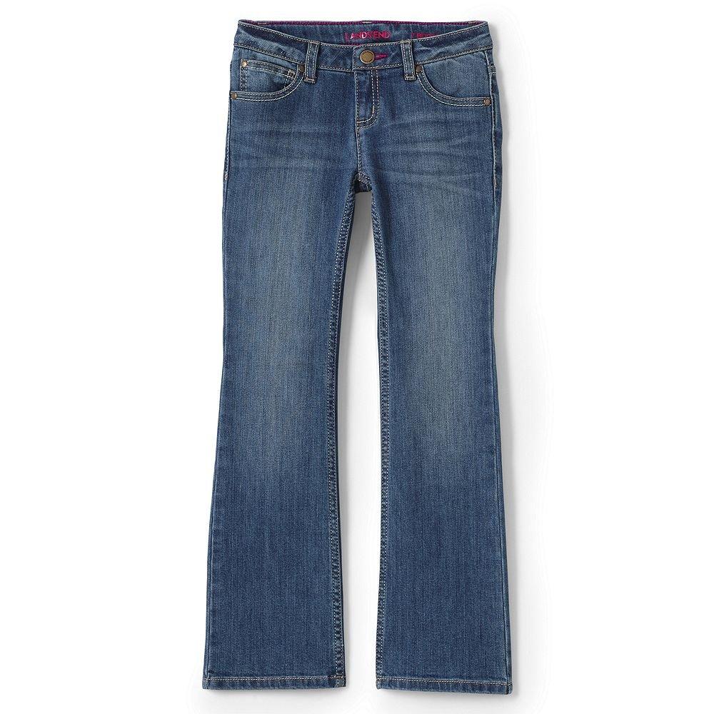 Lands' End School Uniform Girls 5 Pocket Bootcut Jeans, 10, Medium Blue Wash