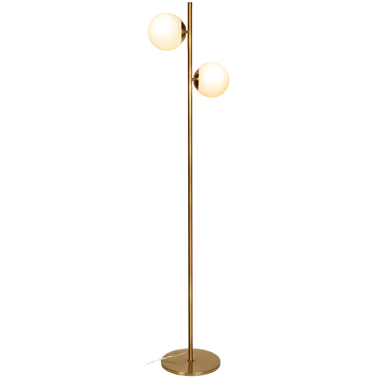 Brightech Sphere LED Floor Lamp– Contemporary Modern Frosted Glass Globe Lamp with Two Lights- Tall Pole Standing Uplight Lamp for Living Room, Den, Office, Bedroom- Bulbs Included- Antique Brass