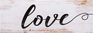 P. Graham Dunn Love Script Design White Wash 15.75 x 5.5 Inch Solid Pine Wood Plank Wall Plaque Sign