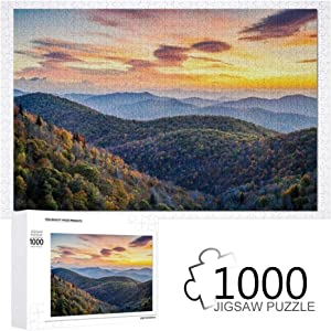 Autumn Scenic Sunrise at The Blue Ridge Mountains in North Carolina Wooden Jigsaw Puzzle for Adult Kids,Puzzle Game Toy Creative Gift for Home Decor 1000 Pieces