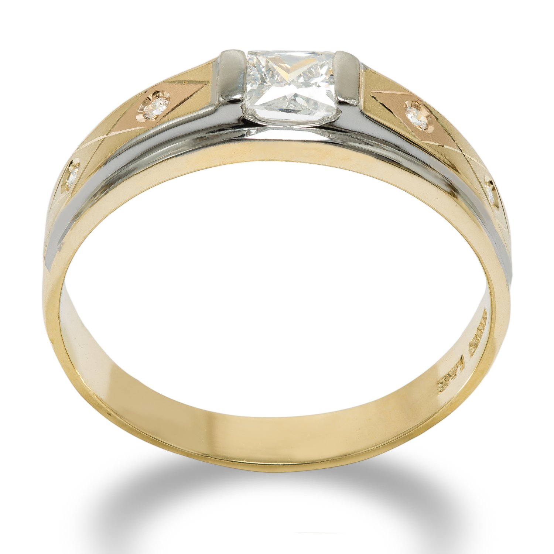 Ioka 14K Solid Gold 4MM Tri Color gold CZ Mens Wedding Band