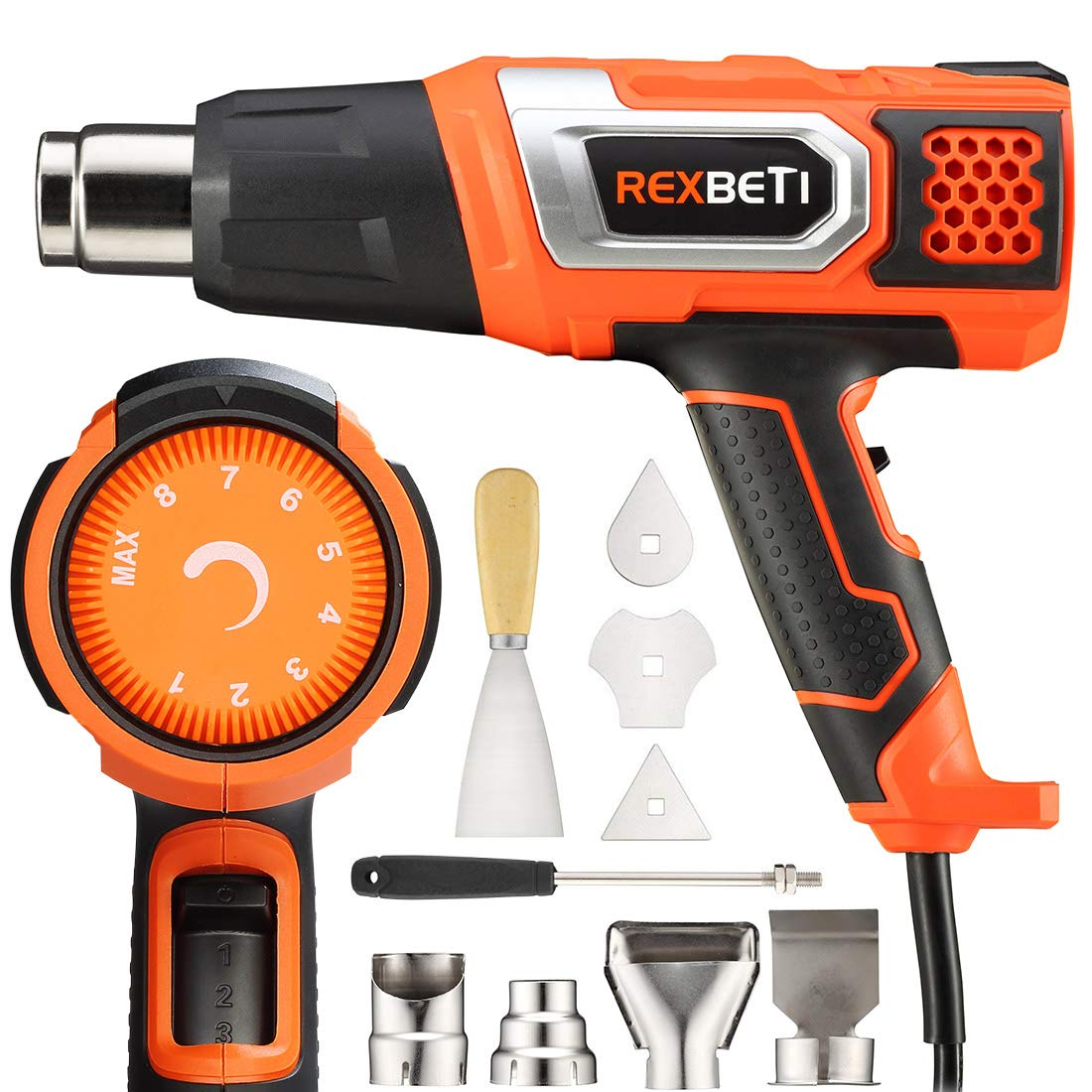 Heat Gun Variable Temperature, REXBETI Portable Hot Air Gun 1500W 140℉-932℉ with 3 Air Flow, 9 Accessories for Heat shrink tubing, Wrapping Drying Painting, Non-Slip Soft Handle, Black Orange