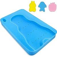 HALLO Baby Bath Sponge Soft Infant Bath Mat Newborn Cushion Odor Free (Blue)