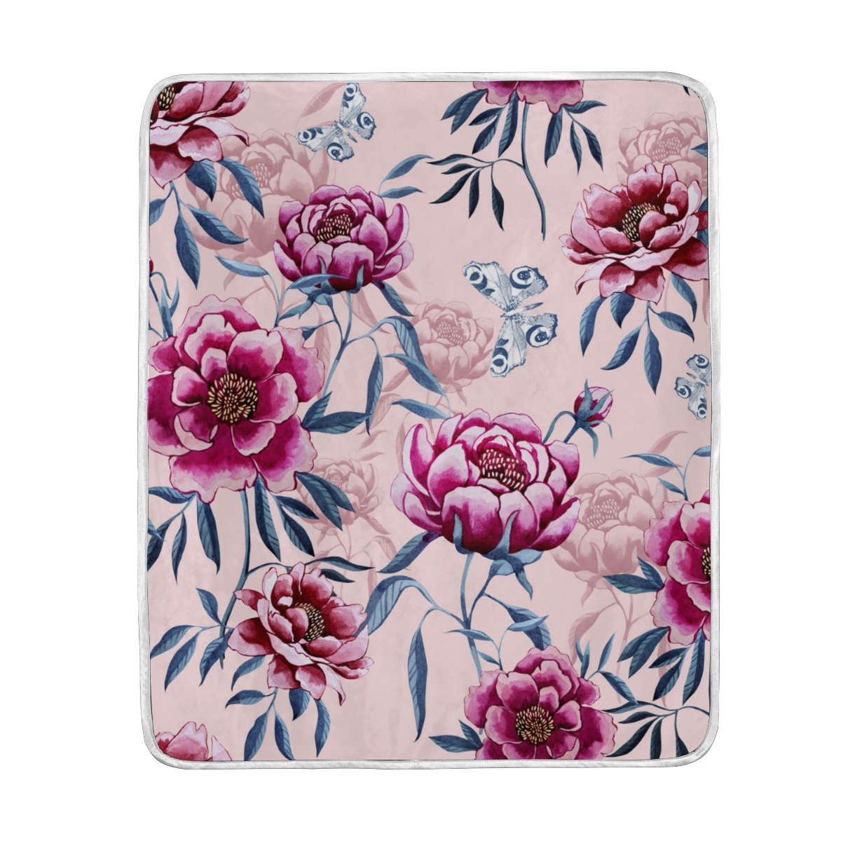 My Little Nest Warm Throw Blanket Peonies Leaves Butterflies Lightweight Microfiber Soft Blanket Everyday Use for Bed Couch Sofa 50'' x 60''