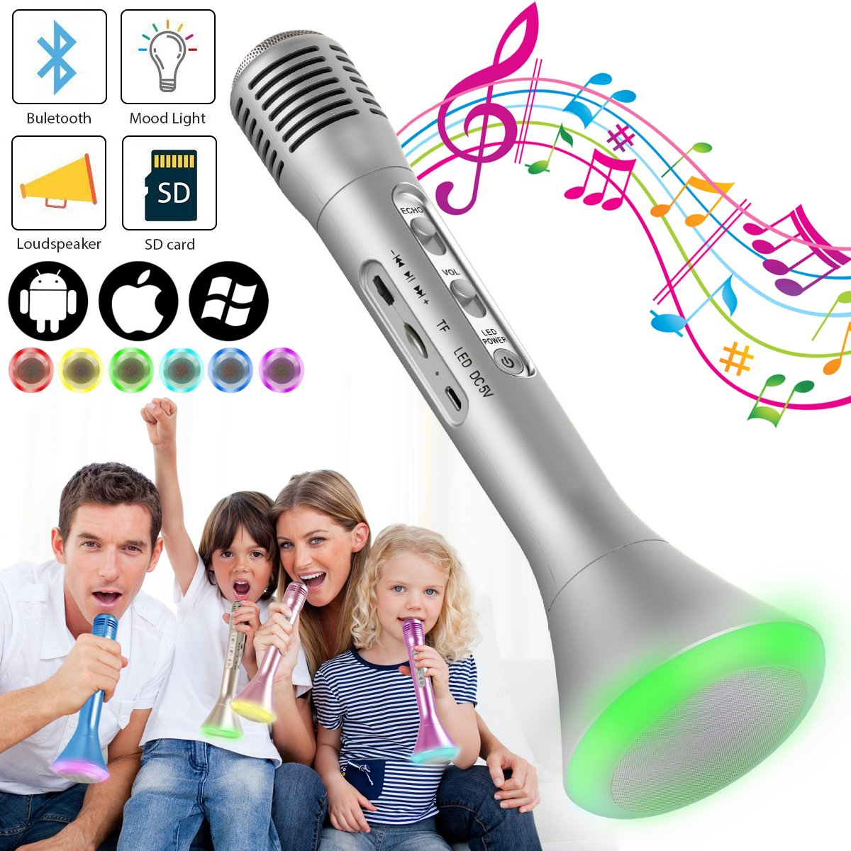 Wireless Kids Karaoke Microphone with Bluetooth Speaker, Portable Handheld Karaoke Player for Home Party KTV Music Singing Playing, Support iPhone Android IOS Smartphone PC iPad, Pink Poppin Kicks