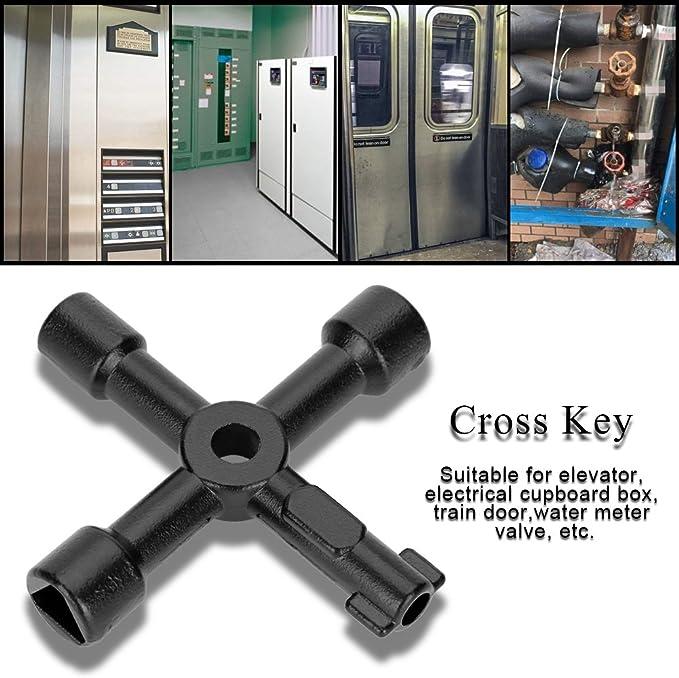 para Armarios Universal Cross Key Abrir El/éctrico Medidor de Gas y Agua Alacena Gabinete YUEMING 4 V/ías Llave de Utilidad Multifuncional Llave