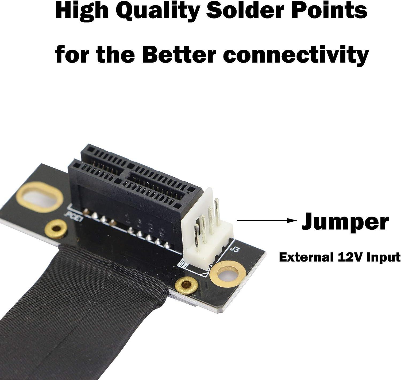 PCI-Express 3.0 1X macho a hembra Cable elevador PCI-E 1X extensor adaptador puente para tarjeta gr/áfica PCIE 1X Cable de extensi/ón de 90 grados 18 cm, 90/°