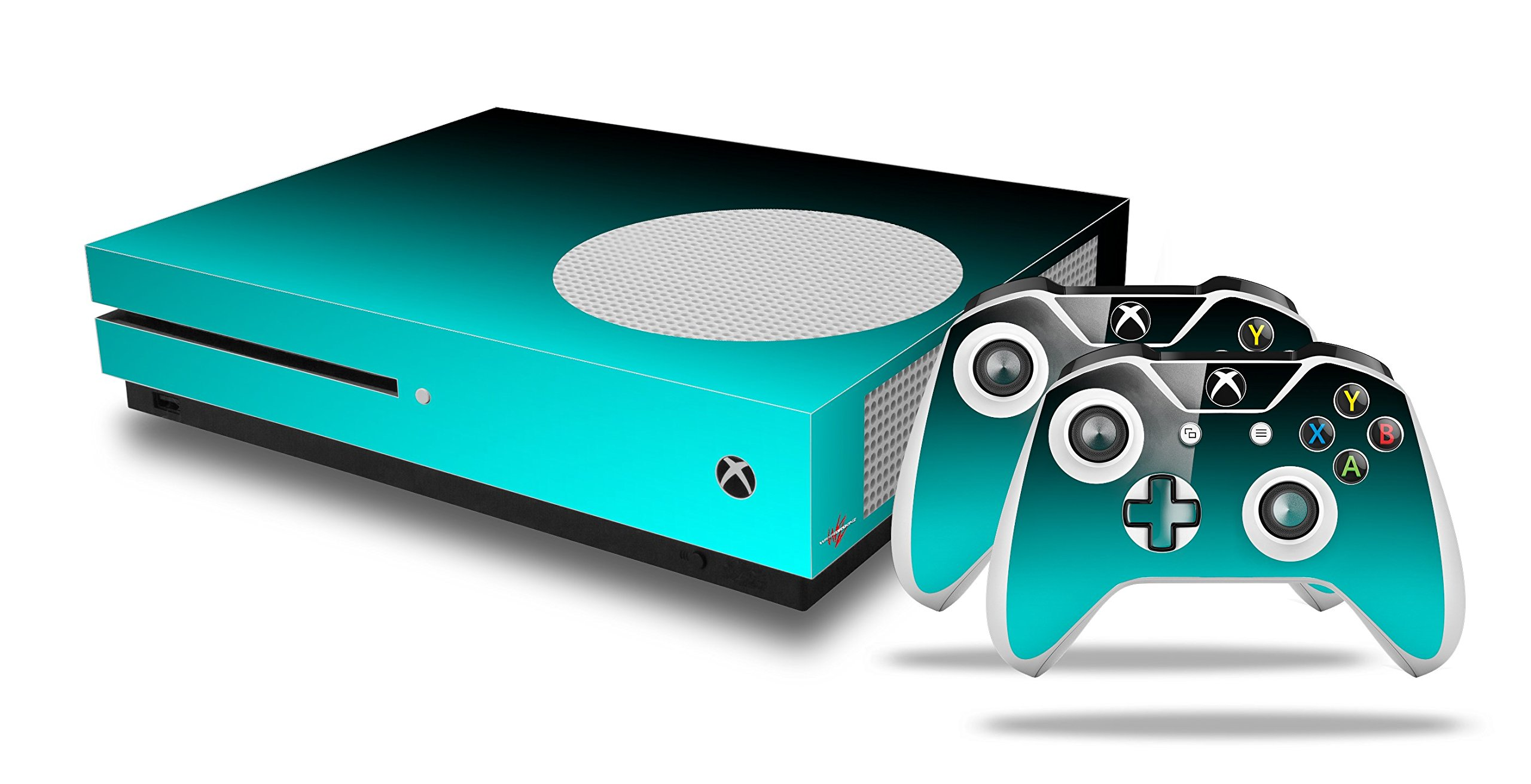 Smooth Fades Neon Teal Black - Decal Style Skin Set fits XBOX One S Console and 2 Controllers (XBOX SYSTEM SOLD SEPARATELY)