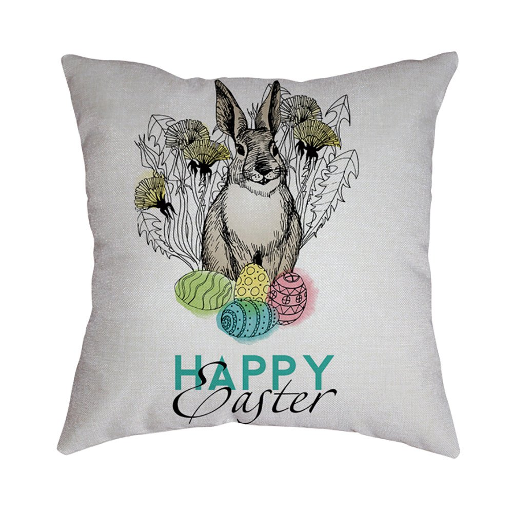 Pet1997 Happy Easter Linen Pillowcase, Festival Rabbit Pillow Case Cushion Cover, Easter Sofa Bed Home Decoration, Luxury Bedding,18 X18 Inch (D)