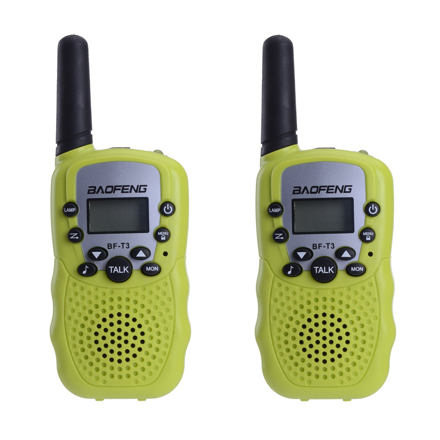 BYBOO Baofeng T3 Kids Walkie Talkies Toys Mini Two Way Radios Xmas Birthday Gift for Boys Girls Children UHF 462-467MHz Frquency 22 Channels - 1 Pair Green