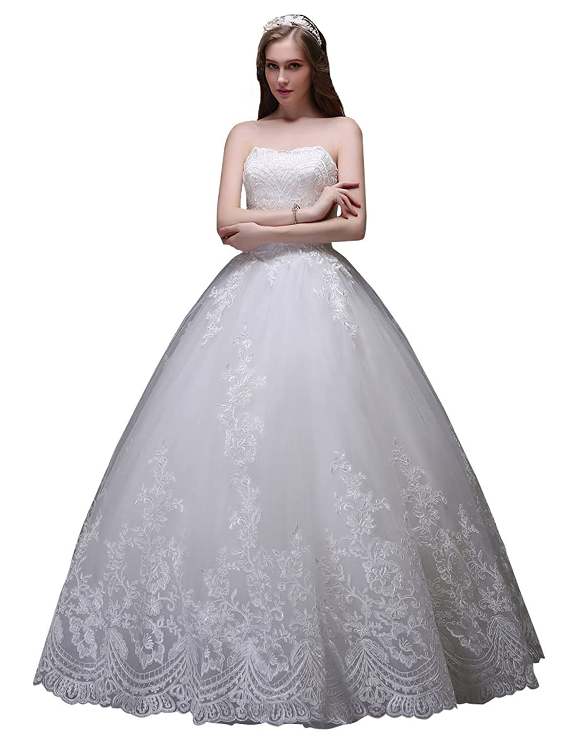 Sarahbridal Women's Strapless Ball Gown Brides Wedding Dresses Lace Bridal Gowns SSW035