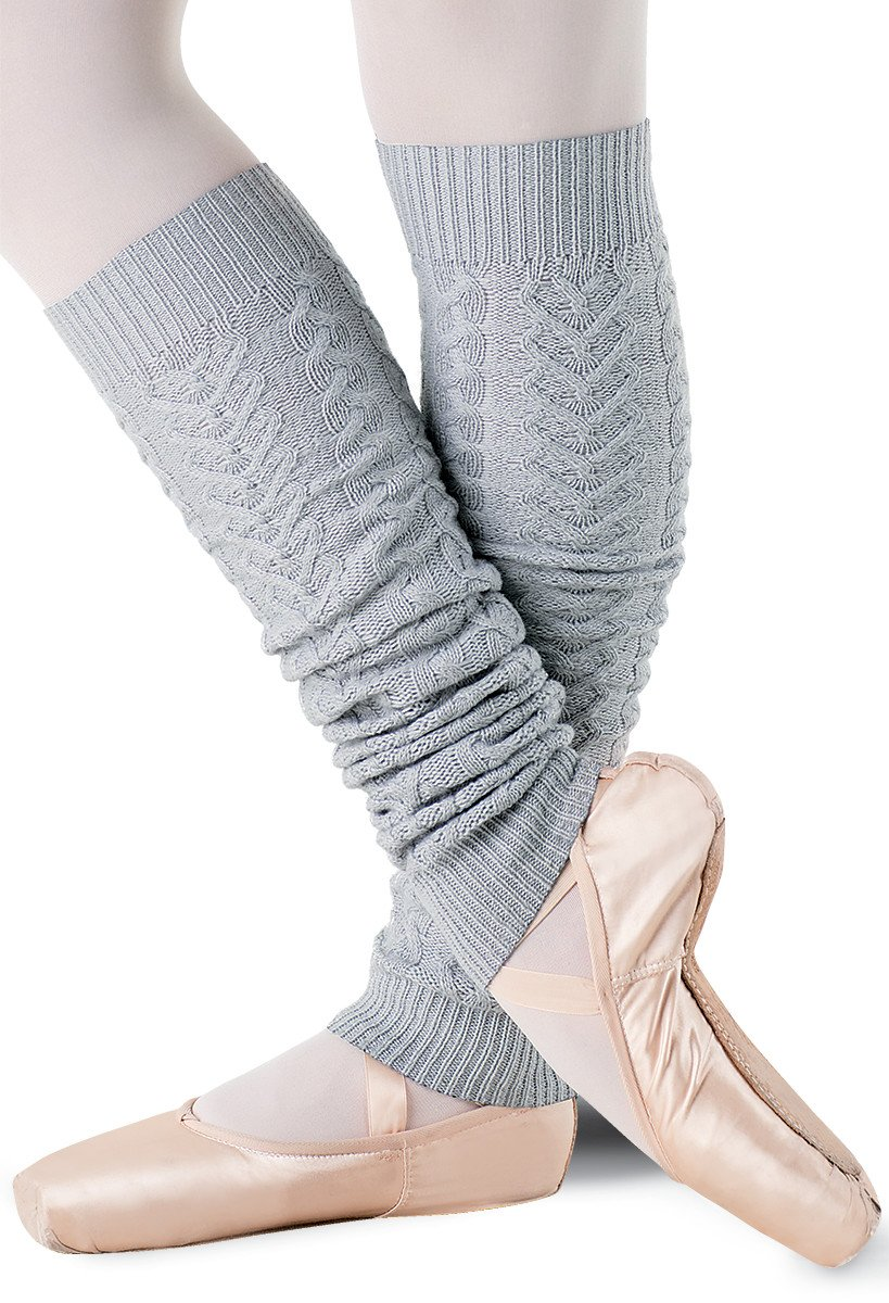 Balera Dance Leg Warmers Cable Knit Soft Gray ADLT