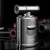 QIMEI Encendedor estilo soplete a prueba de viento para, cigarros, hornear, barbacoa, soldadura con bloqueo de llama, recargable de gas, llama de 4 chorros turbo de gas (no se incluye el gas)