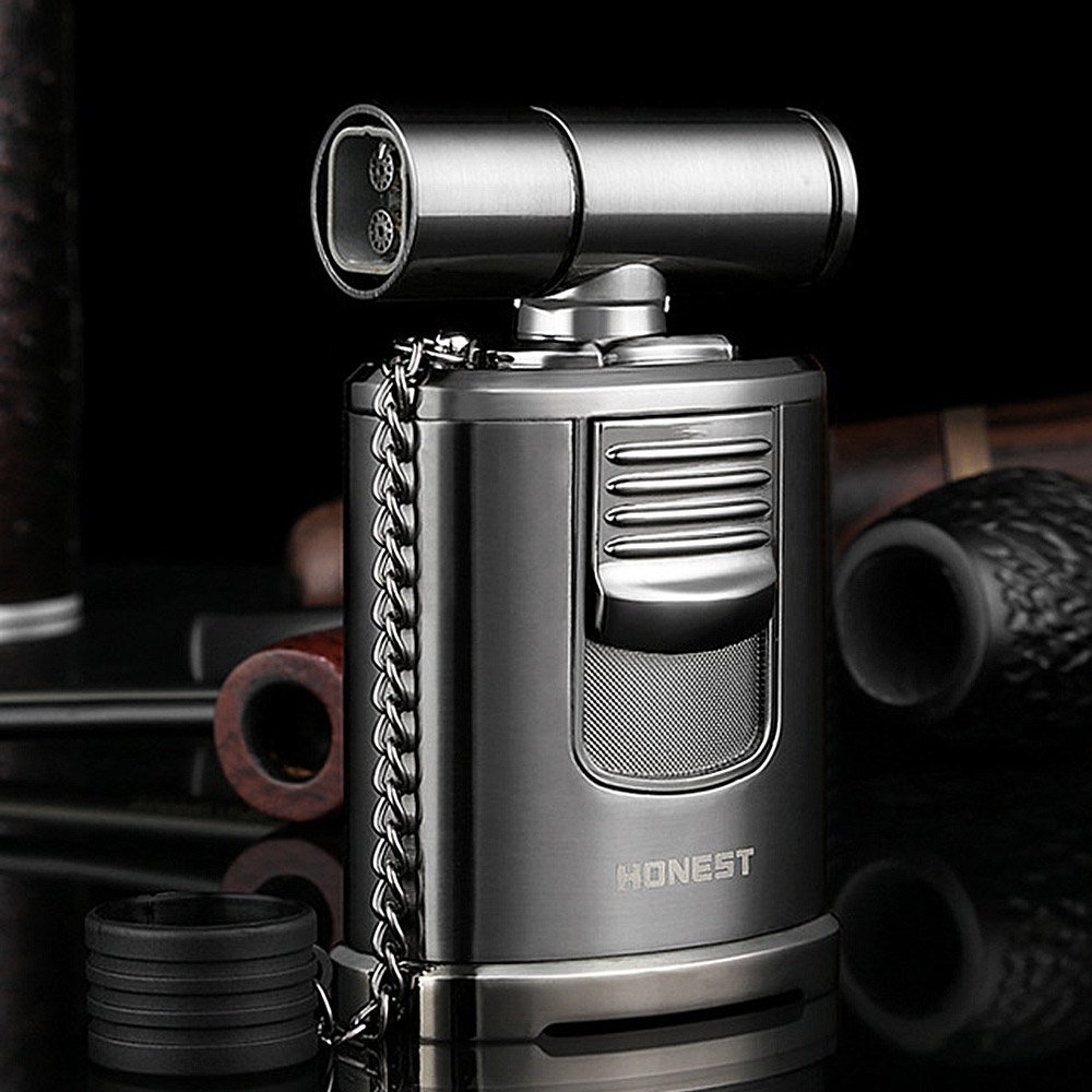 QIMEI Table Jet Torch lighter For Cigar Baking BBQ Welding Gas Refillable Gas Turbo Lighter 4 Jet Flame(Gas Not Included) (Table Jet Lighter Black) by QIMEI (Image #1)