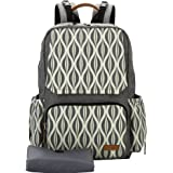 Lekebaby Nappy Bag Backpack with Nappy Chaning Mat for Mom and Dad, Grey