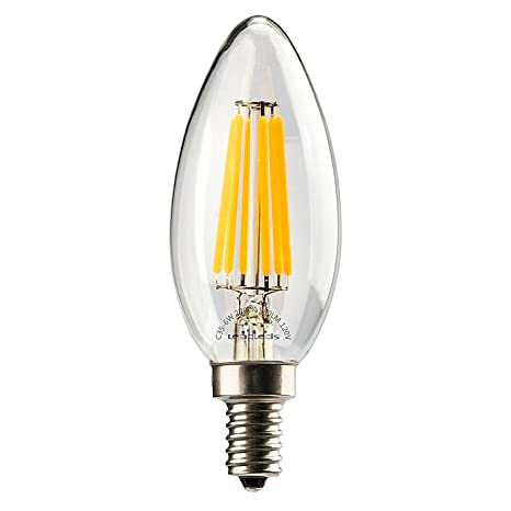 Leadleds 6W Candelabra LED Bulb 60 Watt Equivalent, Decorative ...