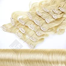 Clip In Extensions Haarverlängerung XXL Set 55 cm - gewellt - Farbton Goldblond