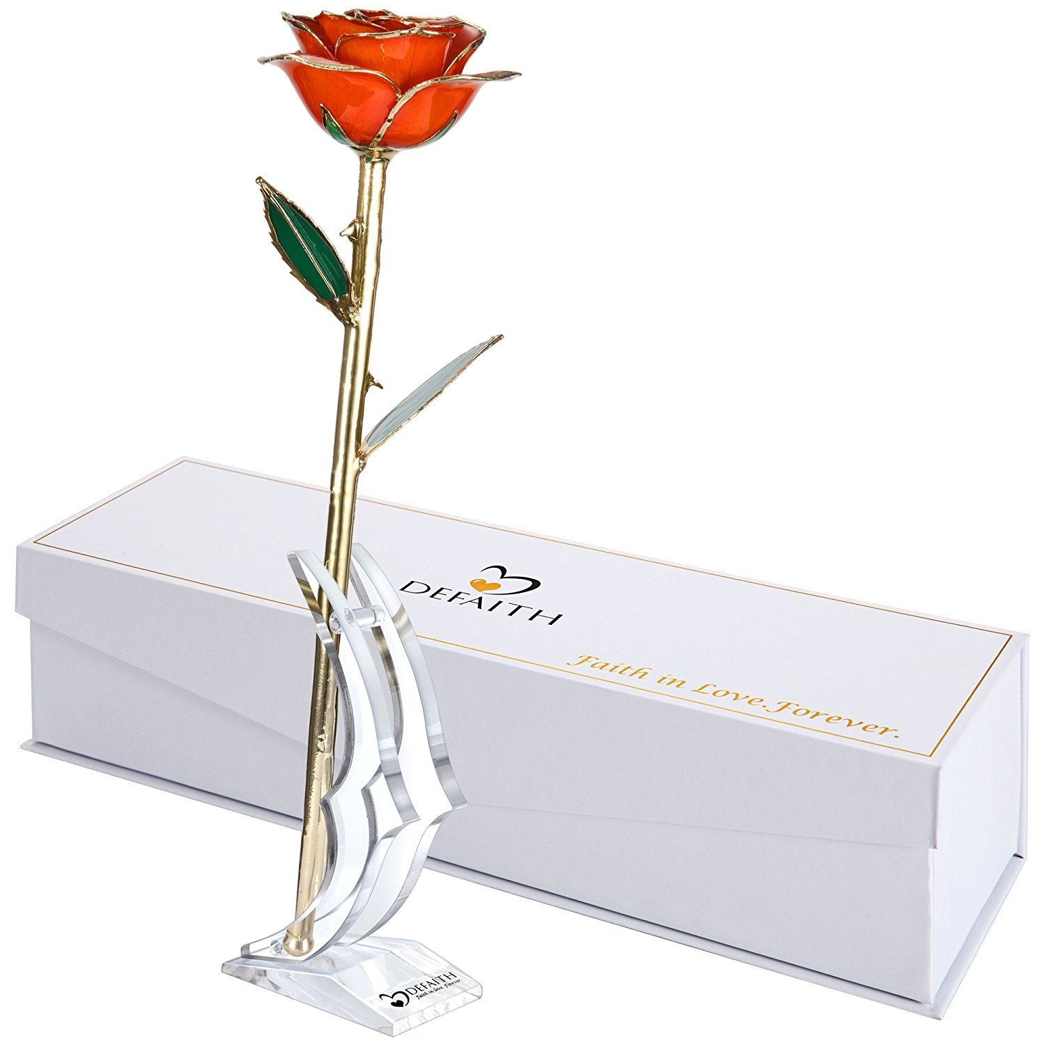 (G.Tangerine) - DEFAITH Tangerine 24K Gold Rose, Unique Anniversary Gifts for Mother Wife Girlfriend Her Women, Made from Real Rose Flower with Stand B014IZ3P86 G.Tangerine