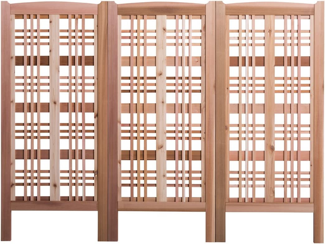 Arboria Claremont Landscape Privacy Screen Western Red Cedar Trellis Made in USA, 27 x 59 Inches, 3 Screens