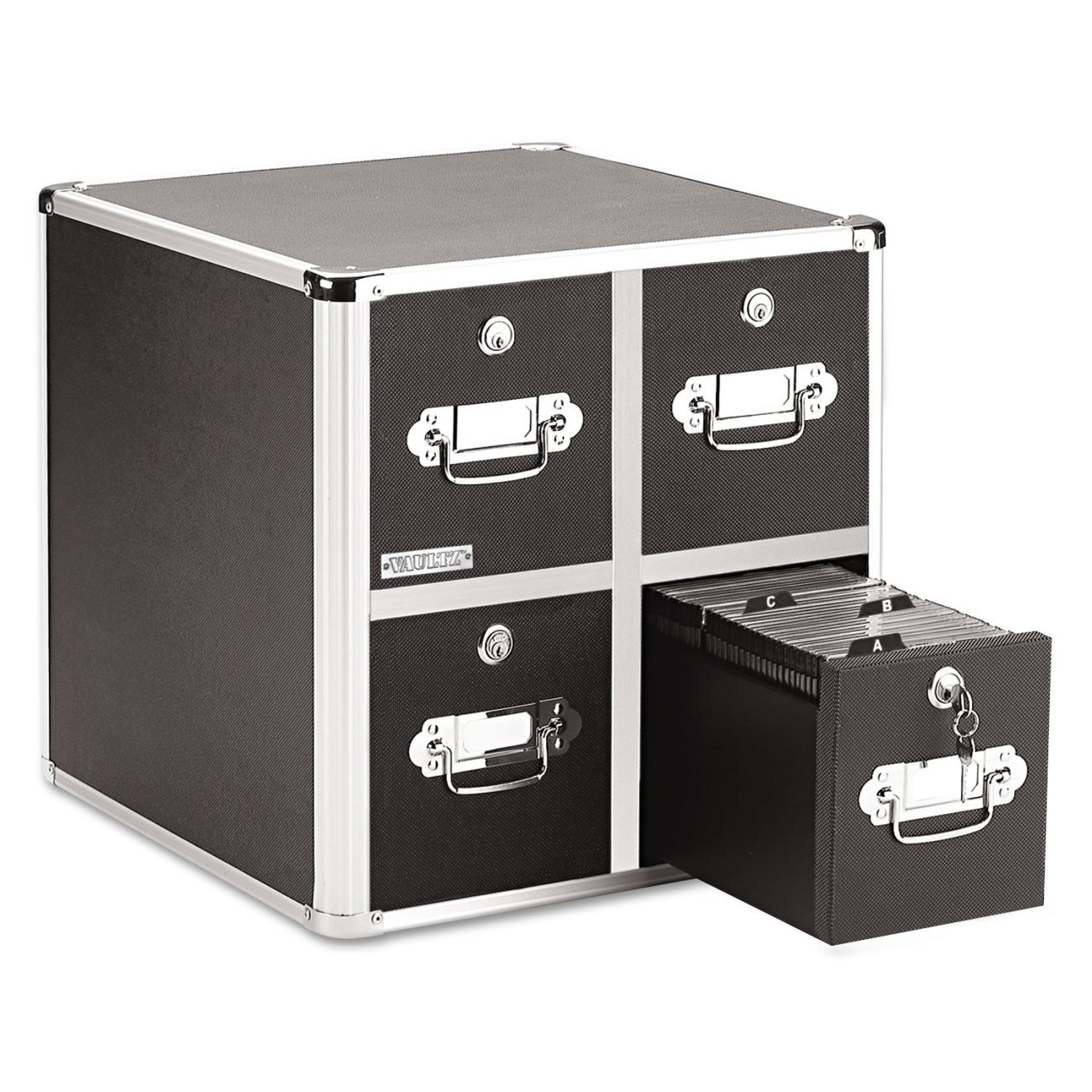 Vaultz Locking CD File Cabinet, 4 Drawers, 15.25 x 14.00 x 14.50 Inches, Black VZ01049