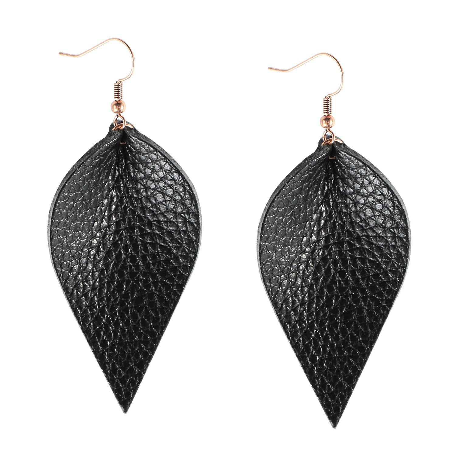 Me&Hz Genuine Leather Earrings Set Teardrop Petal Leaf Leather Dangle Earrings Leather Drop Earring for Women Girls, S/M/L ME08D04