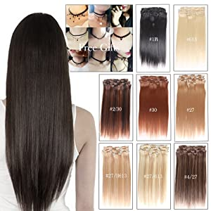 Durian Hair Clip in Hair 20inch Straight Hair Clip in Human Hair Extensions Double Weft 7 pieces 100g(#27)
