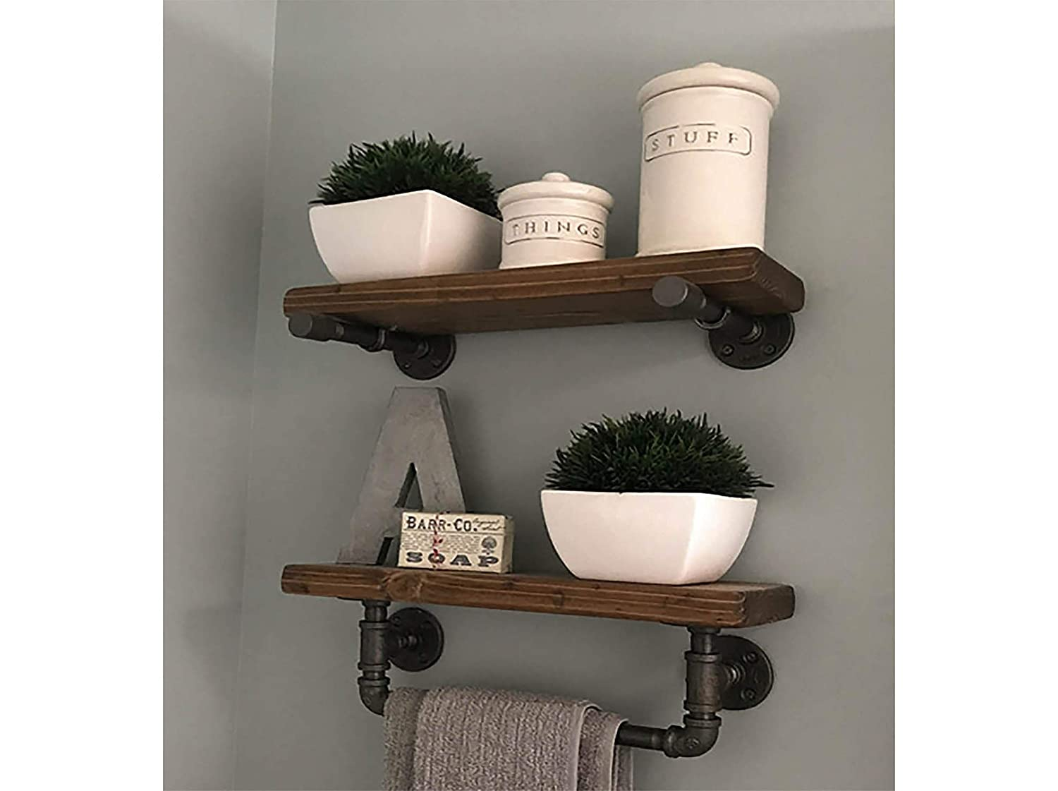 Towel Bar Bathroom Shelving 11 Shelf Set with Towel Bar Farmhouse Bathroom  Decor
