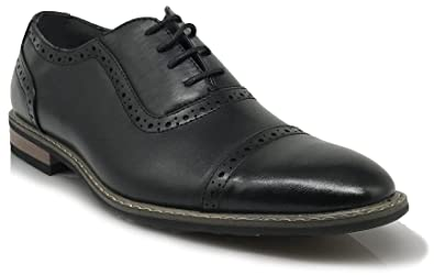 Mens Dress Oxfords Shoes Italy Modern Designer Wingtip Captoe 2 Tone Lace Up Shoes  XVFTED4KJ