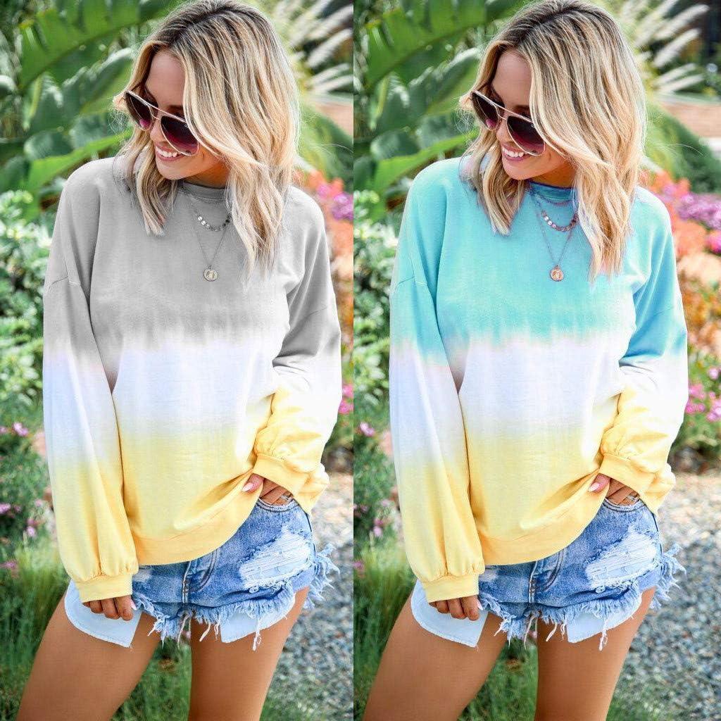 LOOKAA Womens Casual O-Neck Gradient Contrast Color Long Sleeve Top Pullover Sweatshir