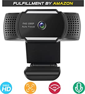 Webcam 1080P with Microphone, Fogeek Full HD Autofocus Web Camera for Conferencing, Video Calling, Recording and Streaming [Free-Driver Installation] 500M Pixels USB Camera for PC Laptop Desktop