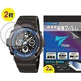 TRAN(トラン)(R) CASIO 腕時計 G-SHOCK ジーショック 対応 液晶保護フィルム 2枚セット 高硬度アクリルコート 気泡が入りにくい 透明クリアタイプ for CASIO G-SHOCK AW-591-2AJF他 (保護フィルム)